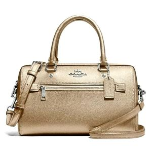 COACH F79954 METALLIC LEATHER ROWN SM SATCHEL
